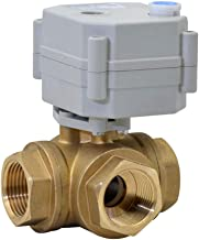 Five-Wires Control Normally Open Three Way Brass 3/4 Inch,DN20 AC110-230V Motorized Ball Valve with Position Indicator