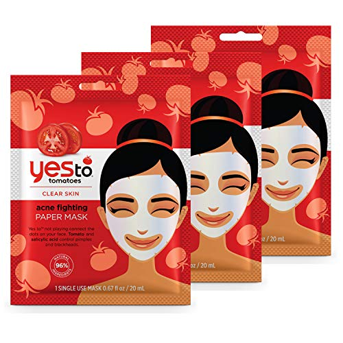 Yes To Tomatoes Acne Fighting Paper Mask, 3 Count