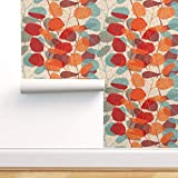 Spoonflower Peel and Stick Removable Wallpaper, Red Orange Brown Aqua Leaves Texture Floral Print, Self-Adhesive Wallpaper 24in x 108in Roll