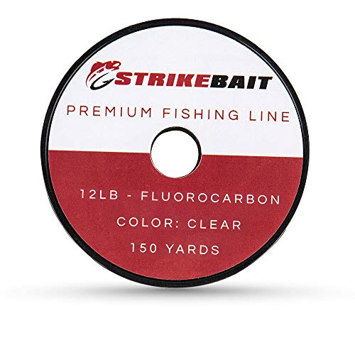 STRIKEBAIT Fluorocarbon Fishing Line - Virtually Invisible and Impossible to Detect - Strong, Heavy Duty Abrasion and UV Resistant Clear Leader Material - 12 Pound Test, 150 Yards