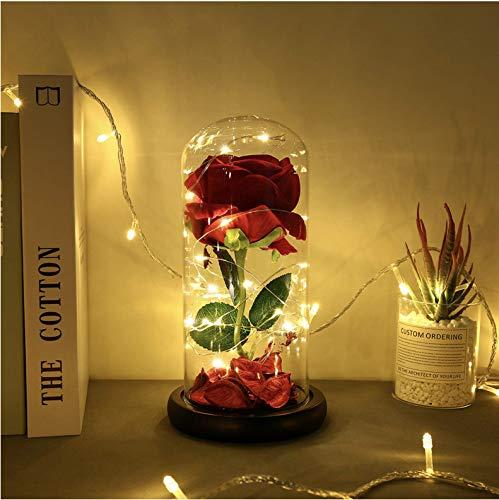 Rosa de cristal Siempre rosa En cúpula de vidrio Elegante cúpula de vidrio con luces LED en base de madera Regalo perfecto para novia, esposa, cumpleaños, día de la madre, aniversario de bodas