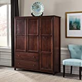 3-Door Solid Wood Armoire Cherry Finish Red Mid-Century Modern Mission Transitional Pine Includes Hardware