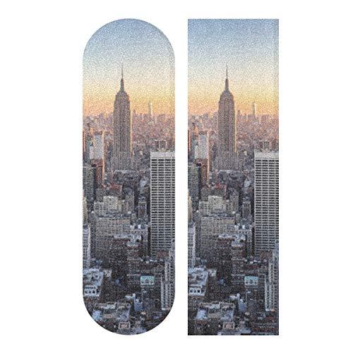 LMFshop 33,1x9,1 Zoll Sport Outdoor Skateboard Griptape Skyline von New York City Over River Print Wasserdichtes Longboard-Griffband für Dancing Board Double Rocker Board Deck 1 Blatt