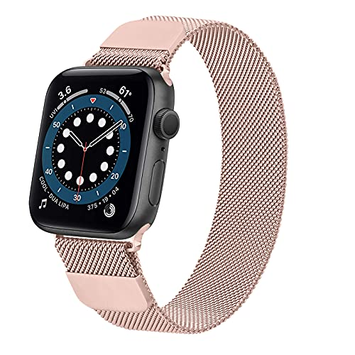 DEMARK Compatible con Apple Watch, 42 mm, 38 mm, 40 mm, 44 mm, doble imán, acero inoxidable, malla metálica, correa de repuesto para iWatch Series SE 6 5 4 3 2 1 (rosa, 42 mm/44 mm)