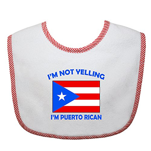 I'm Not Yelling I Am Puerto Rican Puerto Rico Puerto Ricans Cotton Baby Bib Red Trim