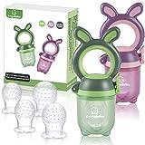 ANGELBLISS Fruchtsauger Baby/Schnuller, Schätzchen Schnuller Gemüse sauger für 3-24 Monate, 6 Silikonbeutel Beißspielzeug,BPA-frei(2 Stück)