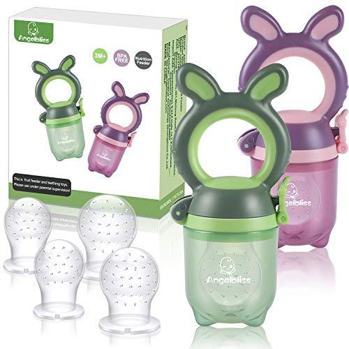ANGELBLISS Tétine d'alimentation pour bébé/Tétine à fruit/tetine grignoteuse bebe/Jouet de dentition pour bébé aux appétissantes, sans BPA(Paquet de 2)