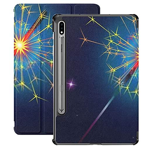 Funda Galaxy Tablet S7 Plus de 12,4 Pulgadas 2020 con Soporte para bolígrafo S, luz de Bengala en el Fondo del Cielo Nocturno Funda Protectora Delgada con Soporte para Samsung