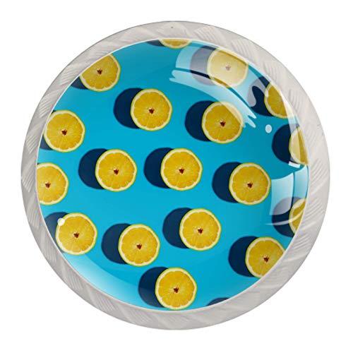 (4 piezas) pomos de armario de cristal de cristal, tiradores de cajón de pulgadas, tiradores de cajones para armarios de cocina, armarios, estanterías, cajoneras, cajones y frutas de limón amarillo