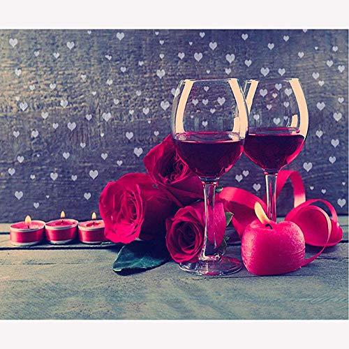 5D Diamant Schilderij Kits voor Volwassenen Rode Wijn Glas Rose Bloem Thuis Woonkamer Slaapkamer Decoratie Opknoping Beeld Handgemaakt Gift 40*50cm