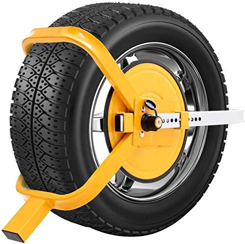 RELAX4LIFE Radkralle aus Stahl, Reifenkralle mit Saugnapf, ideal für 13-15 Zoll und max. 220 mm breite Reifen, Parkkralle, Wegfahrsperre, für Diebstahlschutz, für Autos, Pkw, Anhänger, Wohnwagen, Gelb