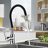 AuraLum Grifo de Cocina Flexible Negro, Monomando Grifo de Fregadero Libremente Orientable con Agua Suave Aireador Desmontable