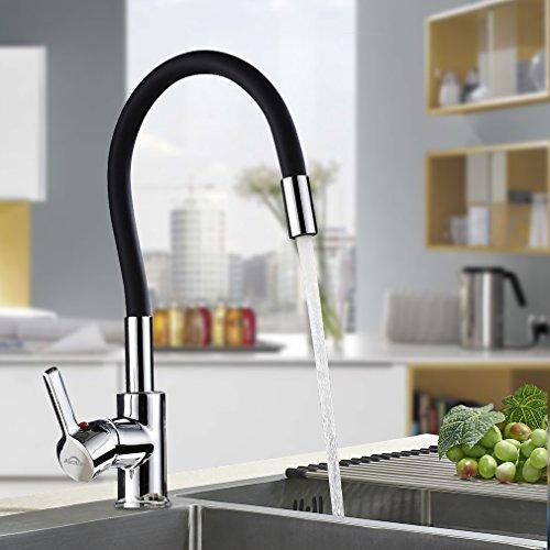 Auralum - Design-Küchenarmatur mit flexiblem Brausehals, Schwarz