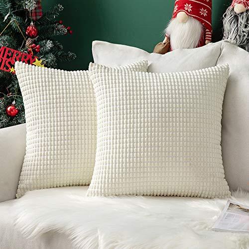 MIULEE 2er Set Kordsamt Soft Solid Dekorative Quadrat Wurf Kissenbezüge Set Kissen Fall für Sofa Schlafzimmer 18 x 18 inch 45 x 45 cm