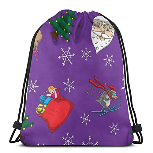 Lsjuee Christmas Background with PurpleSports Fitness Backpack Waterproof Men and Women Pockets Travel Yoga Beach School