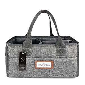 BabyBliss Baby Diaper Caddy Organizer- Portable Nursery Storage Basket for Baby Essentials – Waterproof & Scratch-Free Changing Table Bag with Multiple Side Pockets