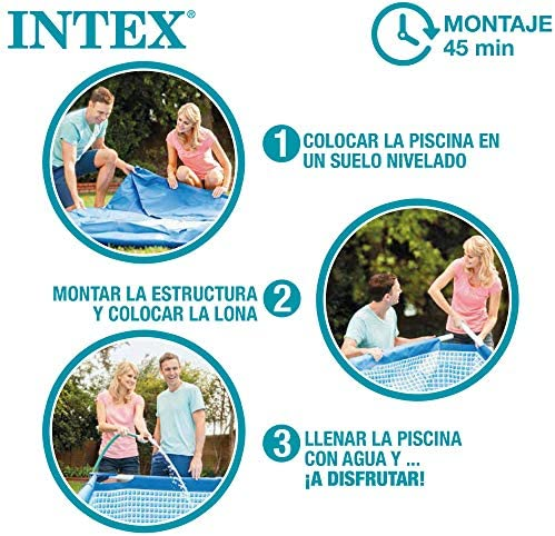 Intex 26742NP - Piscina desmontable INTEX, 457x122 cm, con depuradora cartucho, 3.785 litros/hora, filtro cartucho tipo A, piscina Greywood Prism Frame, 16.805 litros, piscina para 6 personas 7