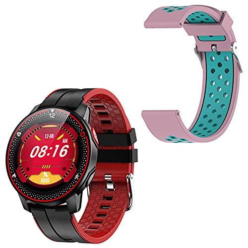 LJMG Smartwatch, Deporte Impermeable IP68, Rastreador De Fitness, Nuevo R18, Monitor De Frecuencia Cardíaca, Bluetooth 5.0 Smartwatch para Android iOS,C