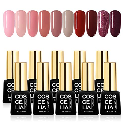 Saint-Acior 10 Farben uv Farbgel Nagellack Set Nagelgel Polish uv gel Lacken Gellacks Kit(8ml*10)