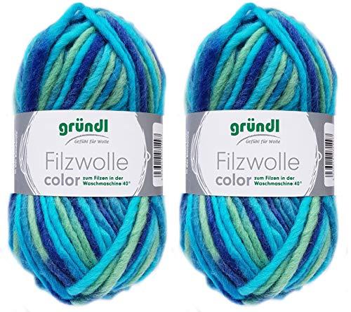 2x50 Gramm Gründl Filzwolle inkl. Anleitung für Topflappen (Color Farben, 38 Türkis Grün Blau)