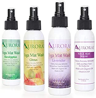 Aurorae Yoga Mat Wash Cleaner. Aromatherapy Natural Organic Essential Oils. 4 Amazing Therapeutic Scents. Made in USA