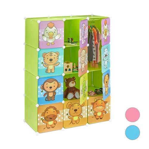 Relaxdays, grün Steckregal Kinderzimmer, süße Tiermotive, Türen, Kleiderstangen, Kunststoff Kleiderschrank HxB 145x110cm, Standard