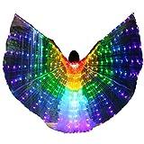 LAMF Alas de danza del vientre LED con palo telescpico iluminan alas de mariposa brillante ropa de rendimiento para carnaval, escenario, fiesta de Navidad de Halloween