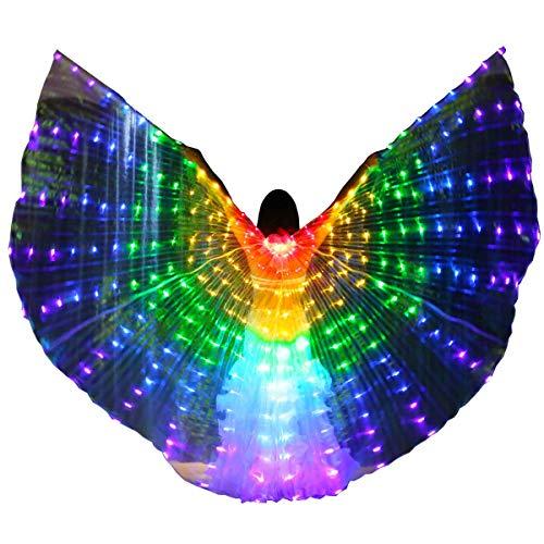 LAMF Alas de danza del vientre LED con palo telescópico iluminan alas de mariposa brillante ropa de rendimiento para carnaval, escenario, fiesta de Navidad de Halloween