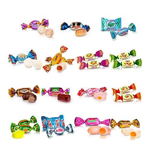 1 KG Süßigkeiten Pralinen Bonbons Mischung kasachisches russisches Konfekt Mix Party Box Fruchtkaramell Rakhat im Schlemmerpaket Großpackung - 15 Sorten (Karamell Mix)