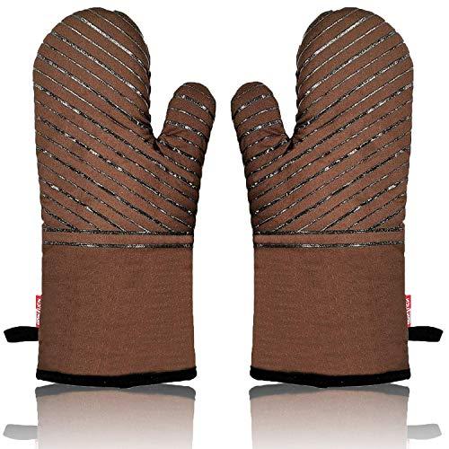 HONZUEN Ofenhandschuhe Hitzebestaendig Topflappen Handschuh Topfhandschuhe Anti-Rutsch Silikon Baumwolle Lange Handschuhe Kochhandschuhe für Kochen Backen Grillen, Braun(1 Paar)