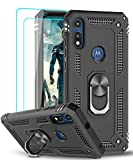 Moto E Phone Case (2020) with [2 Pack] Tempered Glass Screen Protector, LeYi Military-Grade Protective Phone Case with Magnetic Ring Kickstand for Motorola Moto E 2020 Case, Black