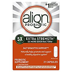 Align Probiotic Extra Strength, #1 Doctor Recommended Brand, 5X more good bacteria to Help support a