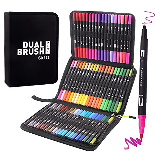 Bajotien Brush Tip Markers Art markers for Artists,60 Dual Brush Pens Coloring Markers for Adult Coloring Book ,Sketching,Scrapbooking