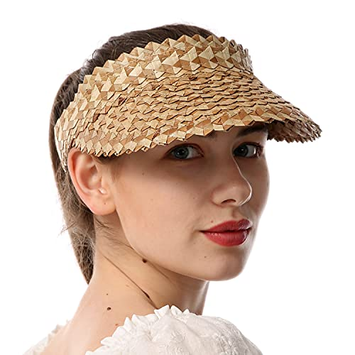 Outrip Straw Sun Visors Hats for Women Beach Summer Wide Brim UV Protection Roll-up Golf Tennis Running Visor(Natural)
