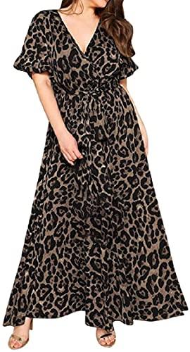 Damen Kleid mit Leopardenmuster, kurzärmelig, V-Ausschnitt, bodenlang, lockere Passform, elegantes Abendkleid, lang, XL-5XL Gr. 54, Schwarz