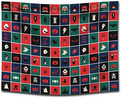 ZXL tafelkleed, wasdoek, bedrukt, Halloween-behang om zelf te maken, decoratie (kleur: G0133 (2), afmetingen: 100 x 75 cm)