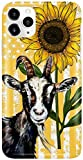 Goat and Sunflower Phone Case for Apple iPhone - Glass Case with 3D Printed Design, Slim Fit, Anti Scratch, Shock Proof,Cover Compatible for Apple iPhone,Xr