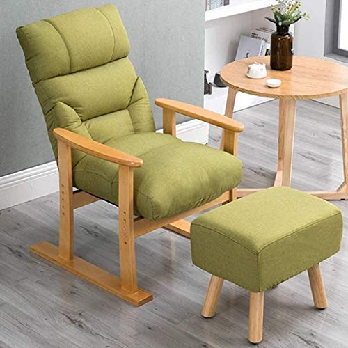 Sillón reclinable al Aire Libre Mediados de Siglo Retro Moderno de la Tela tapizada sillón de Madera (Color : Log Colored Frame)