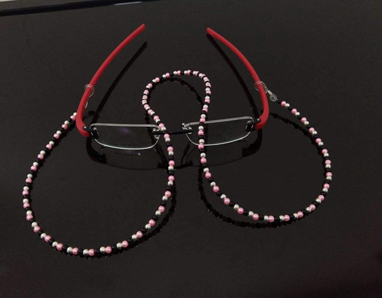 RSINC Eyeglass Chain Holder Fake Beaded Spectral Cord Non-slip Sunglass Chain Metal Alloy Holder Cord 70cm For Men, Women, Children