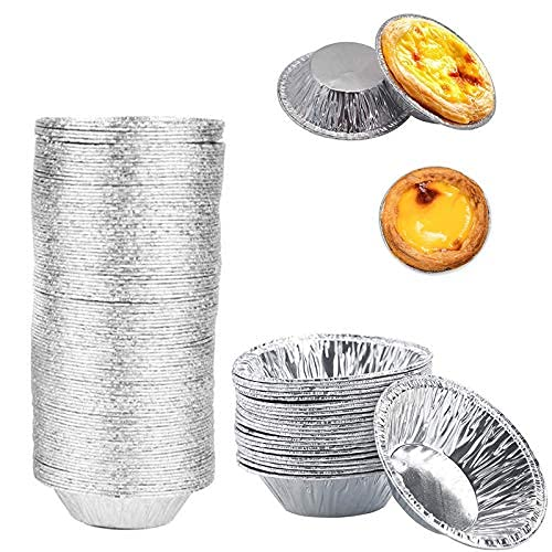 Molde de arte de huevo (400pcs), bandeja de aluminio desechable Mini bandeja para hornear, taza de huevo de 2,8 pulgadas para hornear, WSED para hacer tasas de huevo ...