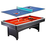 Hathaway Maverick 7-foot Pool and Table Tennis Multi Game with Red Felt and Blue Table Tennis Surface....