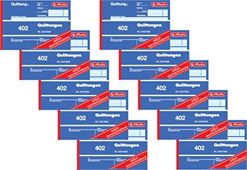 Herlitz Quittungsblock 402, selbstdurchschreibend, A6 quer, 2 x 40 Blatt (10 Stück)
