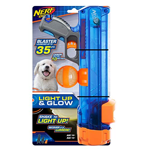 Nerf Dog Small Size Tennis Ball Blaster with LED Ball, Great for Fetch, Hands-Free Reload, Launches up to 50 ft, Single Unit, Includes 1 Nerf Ball