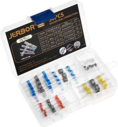 Jerbor Termoretractil con Estaño 50pzs Connectores Electricos de Soldadura Termorretráctiles AWG26-10 Rojos Azules Amarillos Blancos