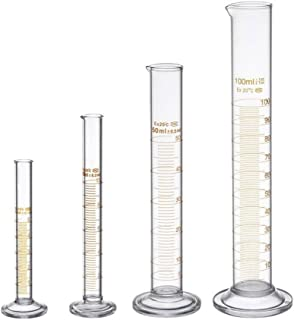 Iycorish Thick Glass Graduated Measuring Cylinder Set 5ml 10ml 50ml 100ml Glass with Two Brushes