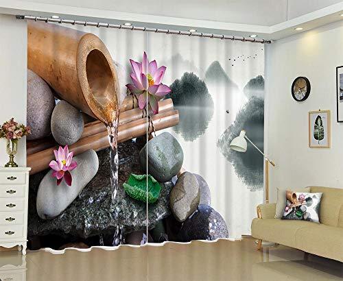RYQRP Cortinas Dormitorio Moderno Zen Loto Piedras Cortinas Opacas en Poliéster Termicas Aislantes Reduccion Ruido para Habitacion Cocina Salón Decoración del Hogar 150x166cm