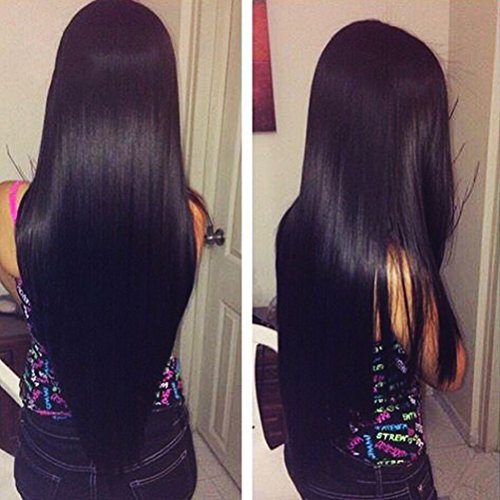 Shireen 8A Brazilian Straight Hair 3 Bundles With A Free Part Lace Closure 100% Unprocessed Virgin Best Remy Human Hair Lace Closure Top Extensions Bundles Natural Color (18 20 22+16inch closure)