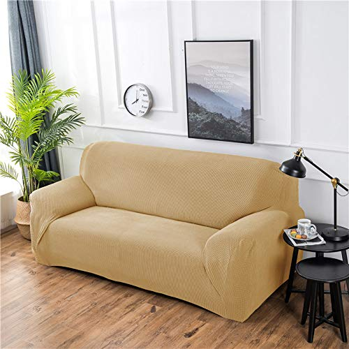 NOBCE Funda de sofá elástica Estiramiento Tight Wrap Fundas de sofá Todo Incluido para Sala de Estar Funda de sofá Silla Funda de sofá Funda de Almohada Amarillo 145-185CM