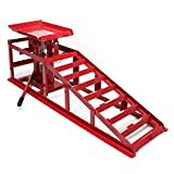 WilTec Car service ramp with hydraulic jack 4409lbs (2000kg) height adjustable for tyre
