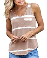 SySea Womens Sleeveless Striped Tank Tops Tie-Dye Racerback Workout Yoga Casual Summer Pockets Tee Shirt Khaki